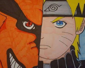 "Fan Art ""Kurama and Naruto"" - L Thin Canvas"