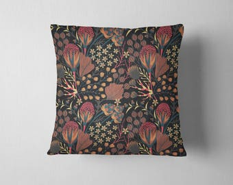 Maroon Forest Floral throw pillow