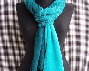 big long fine dark and light turquoise emerald gradient striped knitted soft wool blend scarf for men or women