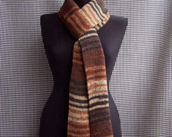 chunky knit long warm striped gradient shades of brown, gray and black colors street fashion scarf cool season gift
