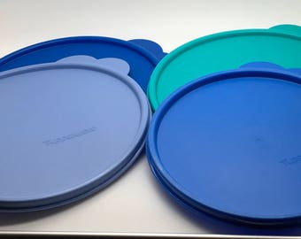 """Vintage Tupperware Replacement Lid Seal Cover Large Tab   Blue  C 2541 6 1/4 """" Or X 2517 7 """" Blue Or Aqua You Pick You Choose"""