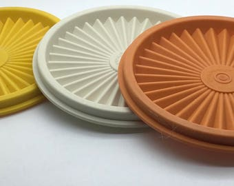 Vintage Tupperware  Replacement Seal Lid Cover Yellow Orange Almond  812 Instant Seal Starburst Fits 811 Canister Your Pick