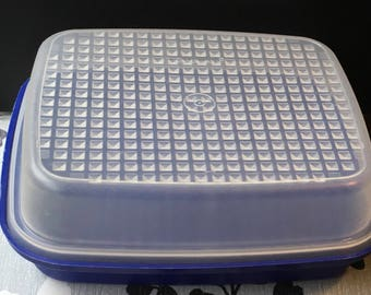 Vintage Tupperware Lacquer  Blue  Season  N Serve Marinater Tenderizer  Camping RV Made In USA Mold # 1518 1519