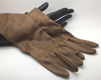 Vintage Kayser Womens  Gloves Size 8 Brown Tan Embroidery Nylon Made In Canada Dress Up Role Play Re-enactment Cosplay Theatre Formal Wear