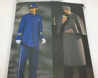 Butterick 3993 Men's Costumes Sherlock Holmes Scotland Yard British Bobby  Coat & Pants  Victorian  Reanacting Cosplay Size XS S M New