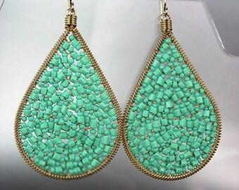 GORGEOUS Blue Turquoise Crystal Beads Chandelier Dangle Earrings, Bohemian Earrings, Cascading Dangle Earrings, FREE SHIPPING!