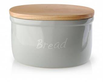 Ceramic bread box gray