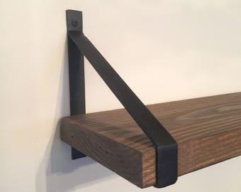Pair of steel shelf brackets
