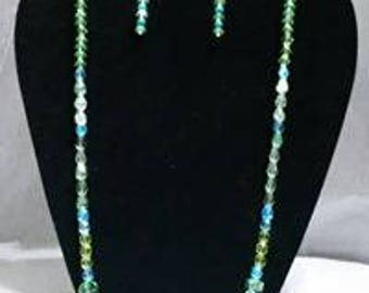Green and Blue - Set of necklace and earrings