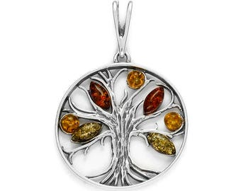 Pendant of multicolored amber and silver 925/1000 (Yggdrasil) tree of life.