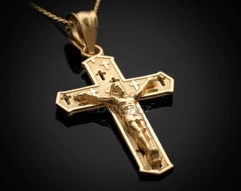 Gold Crucifix Cross Charm Pendant Necklace (10k, 14k, yellow, white, rose gold)
