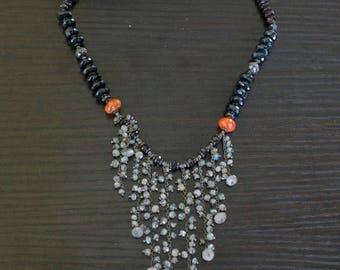 ON SALE Vibrant Garnet Agate Labradorite Necklace