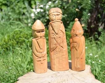 Odin, Thor, Frey, statues od gods from Uppsala