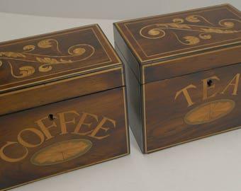 Rare Pair Antique English Caddies - Tea and Coffee c.1870