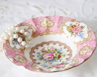 Beautiful Vintage Royal Albert 'Lady Carlyle' Small Candy Dish, Pink Flower Decor, England