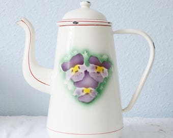 Lovely Vintage Enameled Coffeepot, Pansy Decor, Red Lining