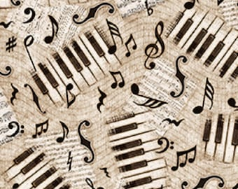 Encore Piano Keys and Music Notes on Cream Gray Tan - by the Half Yard