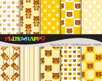 70% OFF Teddy Bear Yellow Digital Papers, Teddy Bear Yellow Digital Papers Graphics, Personal & Small Commercial Use, Instant Download