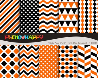 70% OFF Orange And Black Digital Papers, Chevron/Polka Dot/Wave/Stripe Pattern Graphics, Personal & Small Commercial Use, Instant Download