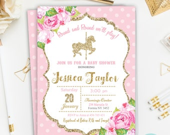 Carousel Baby Shower Invitation,Pink and Gold Baby Shower Invitation, Floral Baby Shower Invite ,Carousel Invitation Printable, Digital File