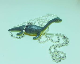 Dinosaur Necklace SIlver Ball Chain Loch Ness Monster Pleisosaurus Dinosaur Jewelry Gifts 5 and Under