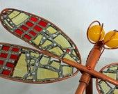 Garden Art Sculpture, Metal Dragonfly Sculpture, Copper, Stain Glass, Yard Art Statue, Insect Art, Yard Art, Metal Art, Dragonfly