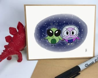 Owls in Space Valentine's Card