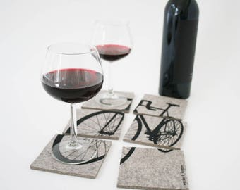 Felt coasters with bicycle motif, set of 6, black grey, gift for bike fans