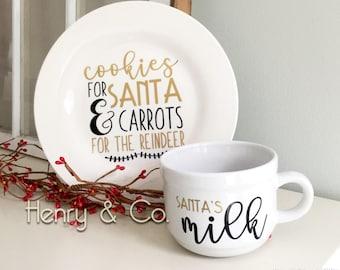 Cookies and Milk set, cookies for santa, milk for santa, carrots for reindeer