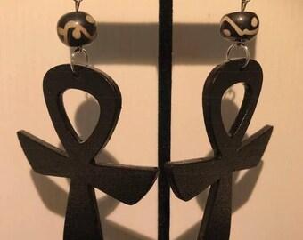 Black Ankh Earrings
