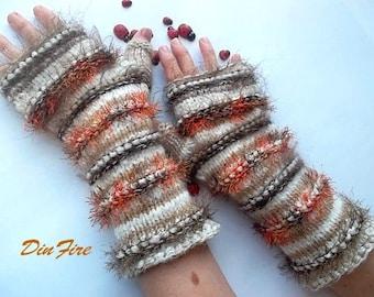 Women L 20% OOF OOAK Bohemian Fingerless Boho Mittens Hand Knitted Striped Warm Gift Accessories Arm Feminine Wrist Warmers Winter 1080