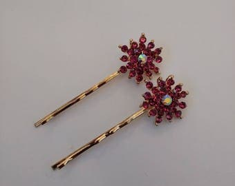 2 Beautiful Sparkly Flower Hair clips. Pretty Hair Clips.