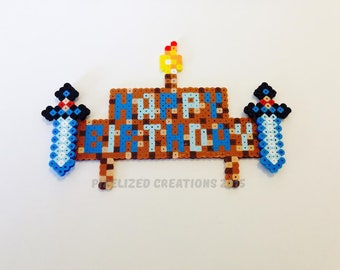 Minecraft Themed Birthday Cake Topper - Minecraft Themed Cake Topper - Minecraft Birthday Topper - Minecraft Party Supply (Customizable)