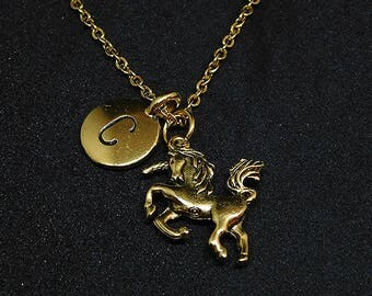 Golden Unicorn with Initial necklace, unicorn charm, fantasy, fairy tale