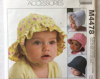 McCall's M4478 UNCUT Infants Size Newborn, Small, Medium, Large, Extra Large Hats Pattern - Bonnet, Ball Cap, Bucket Hat