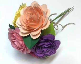 Spring decor - paper flowers - Home decor - paper flower bouquet - gift bouquet