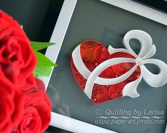 Quilling wall art  Quilling paper Love Heart  Wedding Anniversary  Framed Handmade Decor Design Gift