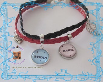 Bracelet leather double personalized name