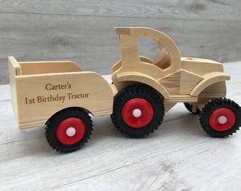 Personlised wooden tractor and trailer push along vehicle - gift for him - gift for her - engraved