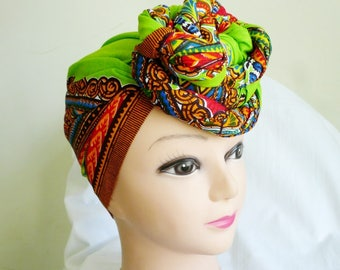 Lime Green Dashiki Print Ankara Head wrap, DIY head tie, Stylish African head scarf, Fabric hair accessory – Made to Order