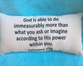 God is Able Ephesians 3:20, Scripture, Christian, Lumbar Pillow, Black, Inspiration