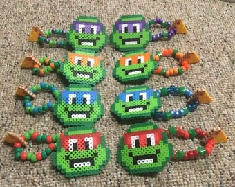 Set of Four Teenage Mutant Ninja Turtle kandi bracelets