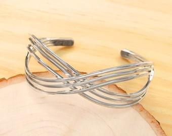 Silver Infinity Cuff Bracelet, Minimalist Bracelet, Simple Cuff Bracelet, Everyday Cuff Bracelet, Modern Cuff Bracelet BBR385-R1