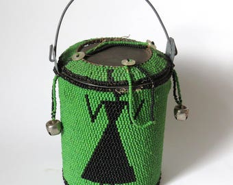 African Green Beaded Can w/Lid Buttons Bells Tribal Figure