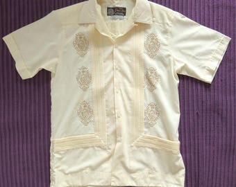 Vintage 60s Guaya-teca Mexican Wedding Shirt 38/M