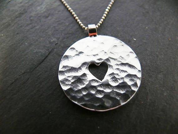 Solid Silver Hammered Cut Out Heart - Handmade in Wales - Gift For Her - Matching Earrings Available