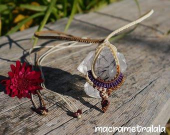 Boho Bridal Necklace with a Tourmaline Quartz & Garnets. Astrology Jewelry Macrame Birthday Gift. Boho Garnet Jewelry by Macrame Tralala