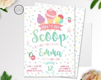 Ice Cream Invitation | Ice Cream Birthday Invitation | Ice Cream Party | Ice Cream Invites | Ice Cream Social | Birthday Invitation