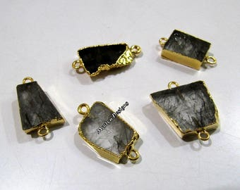 SALE- Natural Black Rutilated Quartz Slice Connector Free Form , Charm Pendant With Gold Electroplated Edge , Double Loop 1 inches approx.
