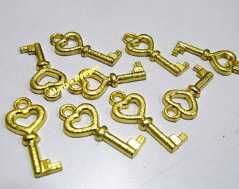 Set of 10 Key Charms , 24 Kt Gold Plated , Metal Blanks Size 25mm approx. Exclusive Quality , Designer Keys Pendant Charm.